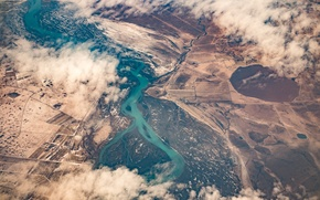 Обои river, clouds, fields, aerial, view, airplane, flying, above the clouds, water, travel, sky, landscape
