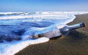 Обои море, бутылка, послание