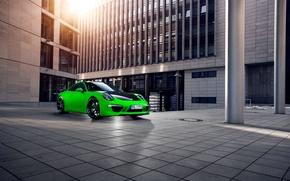 Картинка город, зеленый, 911, Porsche, Здание, Порше, Carrera, techart, Спорткар