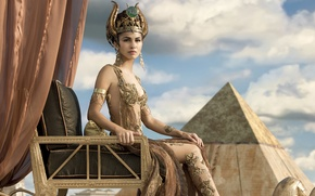 Обои облака, кресло, небо, фэнтези, шторы, пирамида, украшения, наряд, Элоди Юнг, фигура, Elodie Yung, Gods of ...