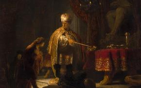 Картинка картина, мифология, Рембрандт ван Рейн, Даниил и Царь Кир у Идола Ваала