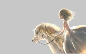 Картинка платье, грива, Девочка, пони, профиль, наездница, серый фон