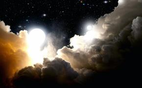 Картинка облака, звёзды, Луна