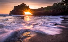 Картинка море, скала, рассвет, арка, Природа, пляж