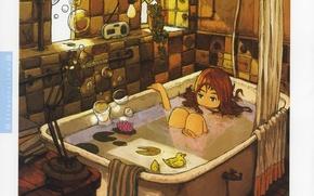 Картинка пузыри, комната, игрушки, книги, лампа, окно, девочка, ванна, занавеска, art, Inucoco