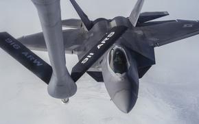 Картинка истребитель, F-22, Raptor, многоцелевой, дозаправка