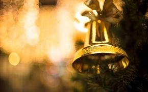 Обои колокольчик, игрушка, боке, новый год