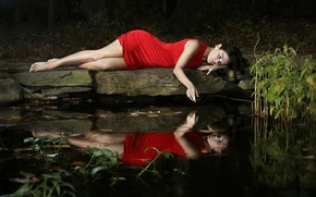 Картинка девушка, озеро, настроение