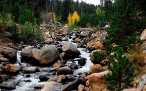 Картинка небо, вода, деревья, пейзаж, горы, природа, ручей, камни, поток