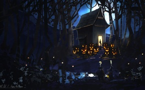 Обои лес, ночь, дом, луна, арт, тыквы, нечисть, happy halloween, by k04sk