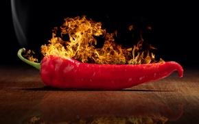 Картинка отражение, огонь, перец, Fire, Chili, Pepper