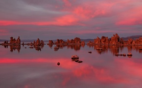 Картинка небо, облака, закат, озеро, камни, скалы