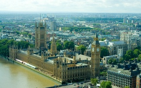 Картинка город, фото, Англия, Лондон, сверху, Великобритания, Биг-Бен, Westminster Palace