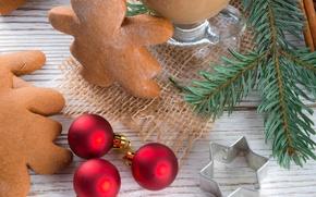 Обои праздник, Рождество, человечек, сладости, Новый год, Christmas, печенька, фигурка, New Year, новогодняя, sweets, cookies