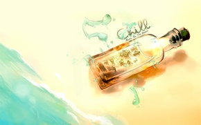 Картинка море, пляж, ноты, музыка, надпись, Рисунок, картинка, бутылка с музыкантами