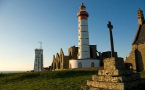 Картинка море, небо, побережье, Франция, маяк, горизонт, солнечно, Pointe Saint-Mathieu