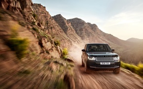 Картинка в движении, земля, машина, Land Rover, Range Rover, небо, внедорожник