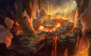 Картинка скалы, огонь, арт, лица, лава, мужчина, статуя, пещера, rongrong wang, rong rong