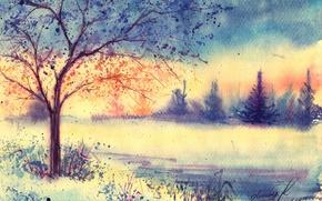 Обои нарисованный пейзаж, акварель, утро