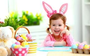Картинка радость, улыбка, настроение, ребенок, Пасха, child, Easter, маленькая девочка