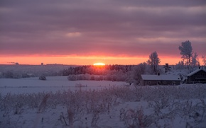 Картинка sunrise, morning, snow, winter