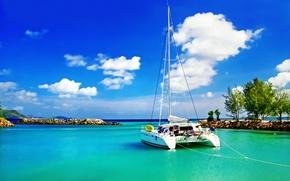Картинка океан, Сейшелы, лагуна, катамаран