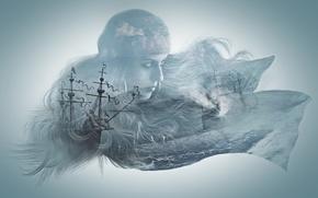 Картинка море, девушка, корабль, монтаж