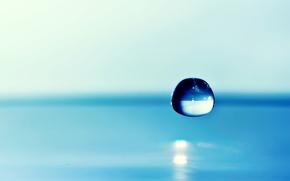 Картинка вода, фон, капля, фокус, голубая
