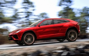Картинка Concept, небо, деревья, красный, скорость, Lamborghini, джип, концепт, вид сбоку, Ламборгини, Urus, Урус