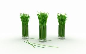 Обои зелёный, стебельки, лимонная трава, стаканы