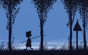 Картинка мальчик, удочка, трава, река, синева