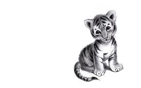 Картинка грусть, арт, карандаш, тигрёнок, детская