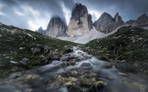Картинка горы, природа, река, ручей, камни, поток