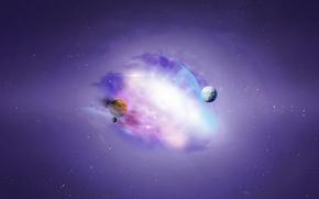 Картинка космос, звезды, туманность, планеты, арт, space