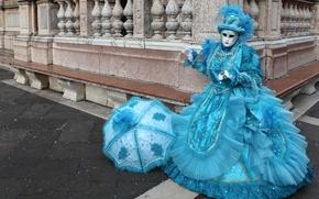 Картинка голубой, зонт, маска, костюм, Венеция, карнавал