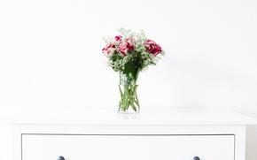 Картинка стол, розы, букет, ваза