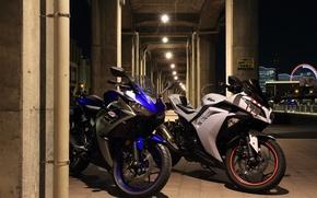 Картинка город, Kawasaki, Yamaha, мотобайки
