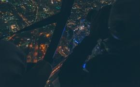 Картинка ночь, город, огни, фото, здание, высота, вид сверху