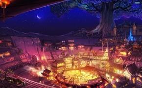 Картинка ночь, праздник, Город, древо