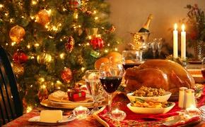 Картинка lights, стол, подарок, вино, елка, свечи, Новый год, украшение, гирлянда, шампанское, wine, New Year, Merry …