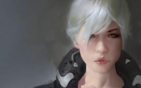 Картинка взгляд, арт, лицо, прическа, девушка, губы, глаза, белые волосы