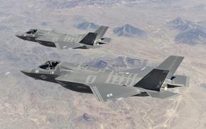Картинка полет, истребители, пара, бомбардировщики, пилоты, Lightning II, F-35B