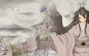 Картинка небо, цветы, кимоно, бант, reiuji utsuho