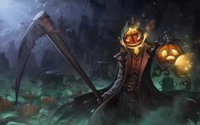 Картинка Halloween, тыква, коса, art, reaper, overwatch, Gabriel Reyes