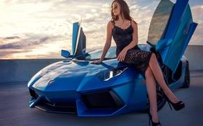 Картинка Lamborghini, Girl, Legs, Beautiful, Model, Blue, LP700-4, Aventador, View, Supercar, Hair, Dress, Zoe P