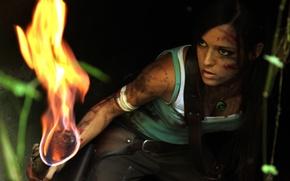 Картинка девушка, огонь, грязь, факел, Tomb Raider, косплей, Lara Croft, Charly Brusseau