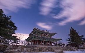 Картинка снег, природа, зима, архитектура, деревья, Китай, ночь, сиреневое, пагода, небо, звезды, облака