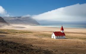Картинка море, пейзаж, горы, храм, Исландия