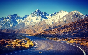 Картинка road, nature, Snow, mountain, beauty, scenery