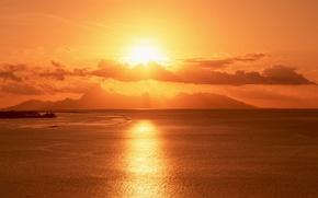 Картинка море, солнце, закат, горы, остров